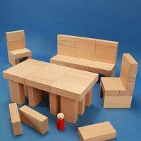 Set houten blokken « Fröbel-Special 85 » in een beukenhout box
