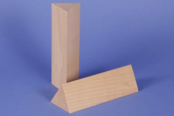 houten columns driehoekig 6 x 6 x 18 cm gelijkbenige