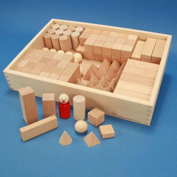 Sets geometrisch lichaam in beuken kist met lasermarkering