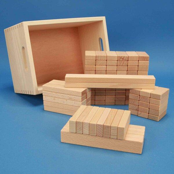 Set van 100 houten blokken in een beukenhouten kist