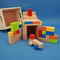 Set uit 50 houten blokken kleurrijke met car in de beukenkist