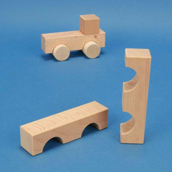 houten blokken half-drilled 12 x 3 x 3 cm - 3 cm half-drilled