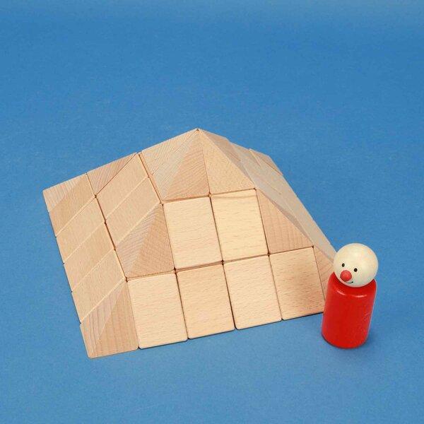 kleine Piramidenset van beukenhout 9 cm