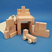 Set uit 50 uitgezochte houten blokken met car