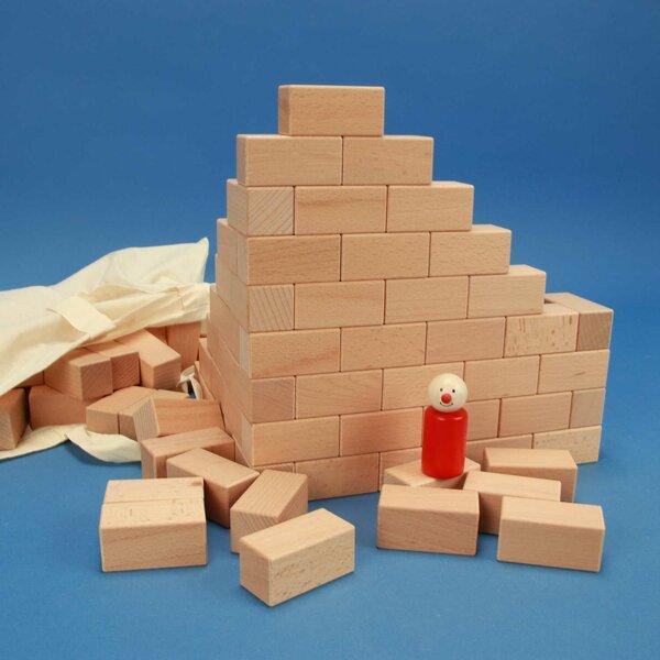 100 houten blokken 6 x 3 x 3 cm