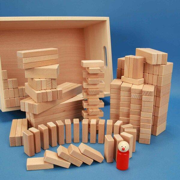 Set van 200 houten blokken in een beukenhouten kist