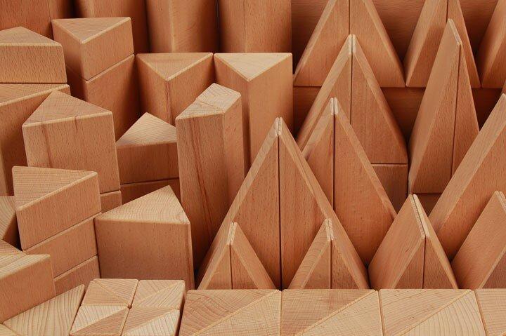 houten blokken driehoekig