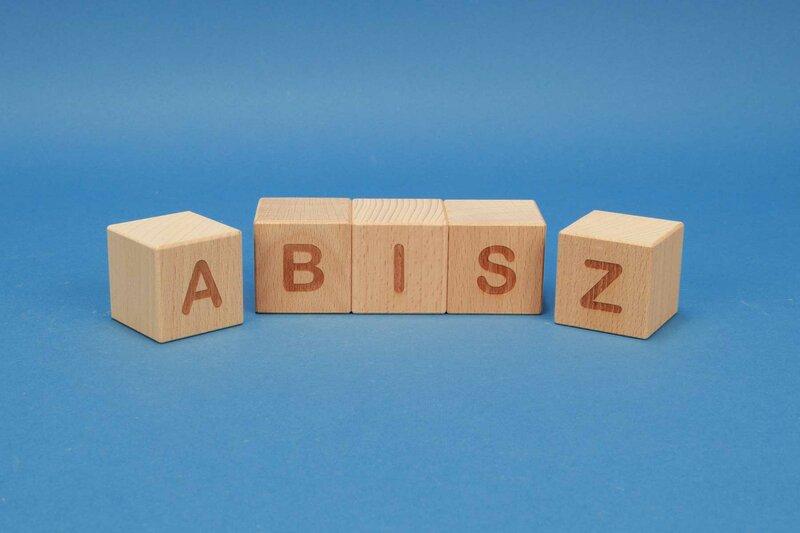 Houten naam blokken A-Z positive