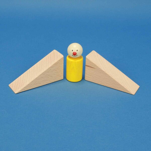 driehoekige houten blokken 9 x 4,5 x 3 cm