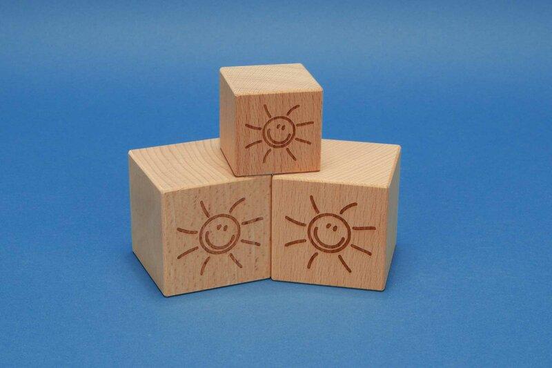 Houten kubus met motief