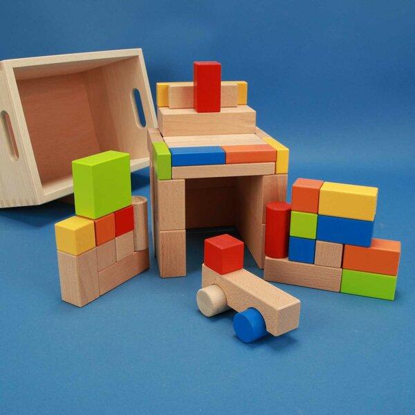 Set uit 50 blokken kleurrijke met car in kist met lasermarkering