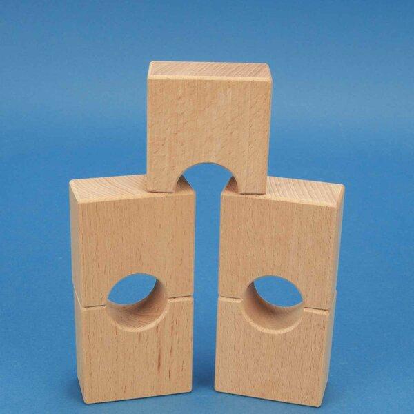 houten blokken half-drilled 6 x 6 x 3 cm - 3 cm half-drilled