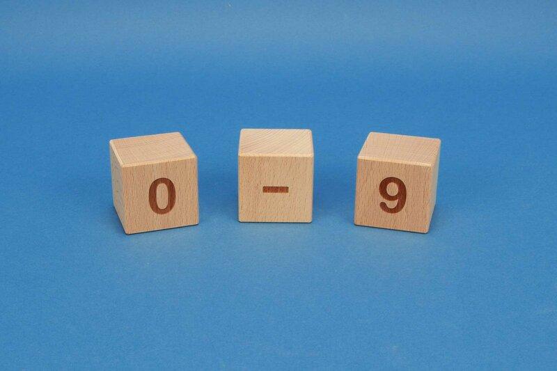 houten nummer kubus 0-9 positief