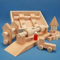 Set houten bouwblokken « Special 57 » in een beukenhouten kist