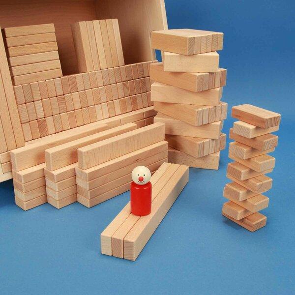 Set van 300 houten blokken in een beukenhouten kist