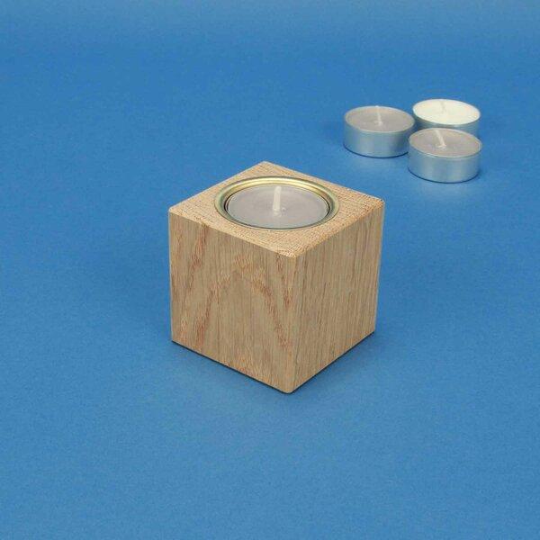 Houten kandelaar 6 cm cubus eik