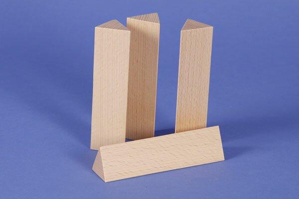 houten columns driehoekig 3 x 3 x 12 cm