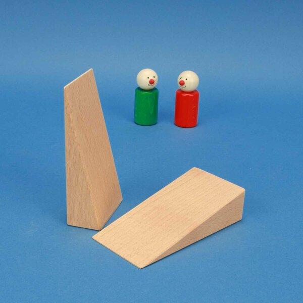 driehoekige houten blokken 12 x 6 x 3 cm