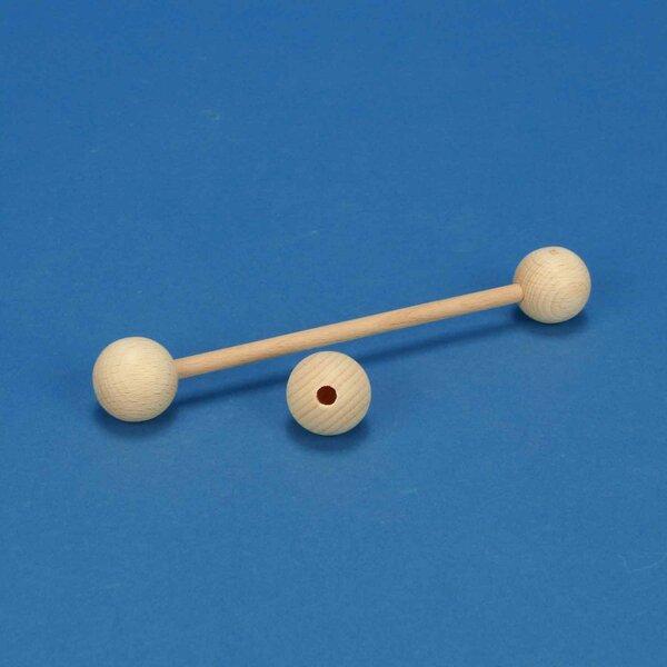 houten kogels Ø 30 mm half drilled 6mm