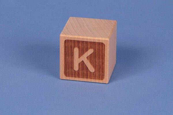 Houten naam blokken K negatief