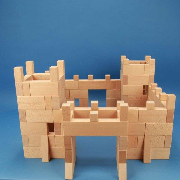 Ridderburcht met 170 houten bouwblokken