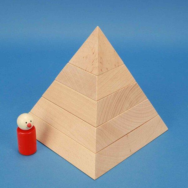 grote vierkante piramide van beukenhout 18 x 18 x 18 cm