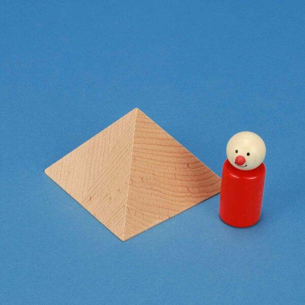 grote vierkante piramide van beukenhout 9,5 x 9,5 x 6 cm