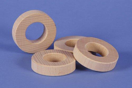 houten blokken rond Ø 6 x 1,5 cm - 3 cm drilled
