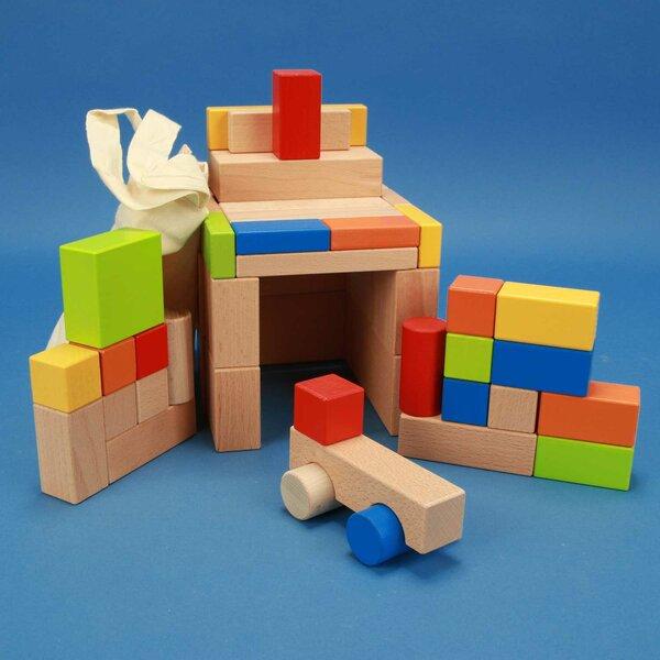 Set uit 50 houten blokken kleurrijke met car