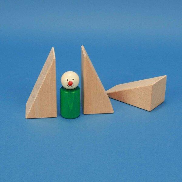driehoekige houten blokken 9 x 4,5 x 4,5 cm
