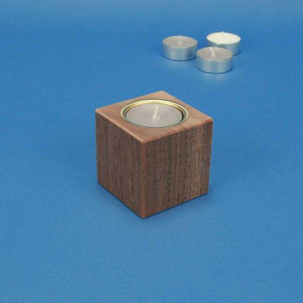 Houten kandelaar 6 cm cubus walnoot