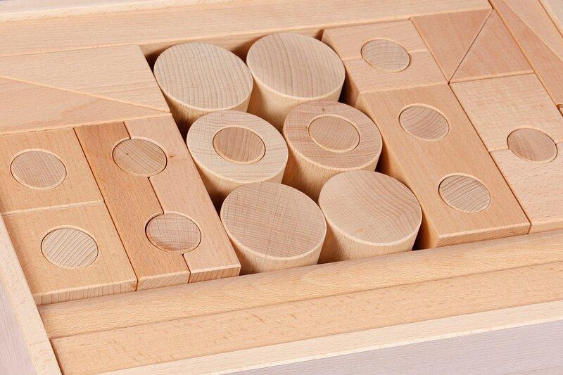 Drilled houten bouwblokken