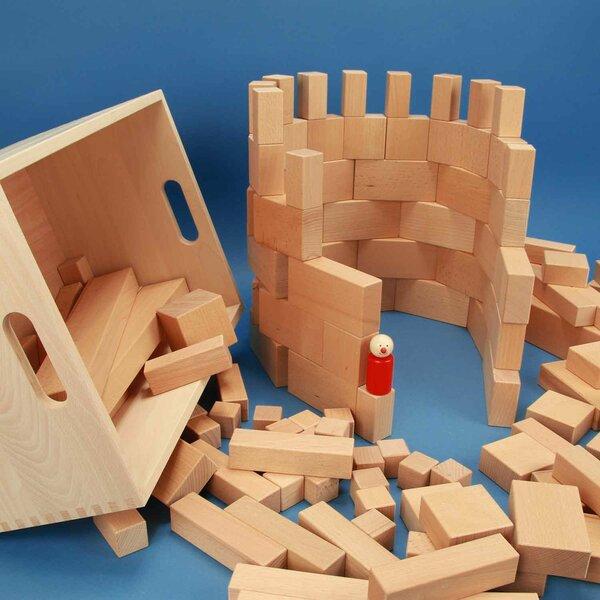 Set uit 140 houten blokken in een beukenkist met lasermarkering