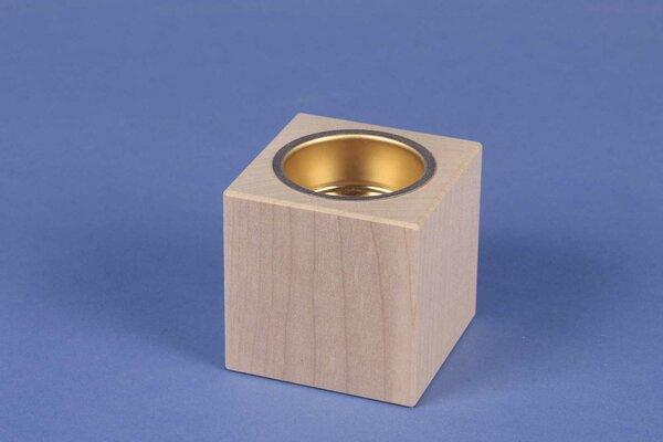 Houten kandelaar 6 cm cubus esdoorn