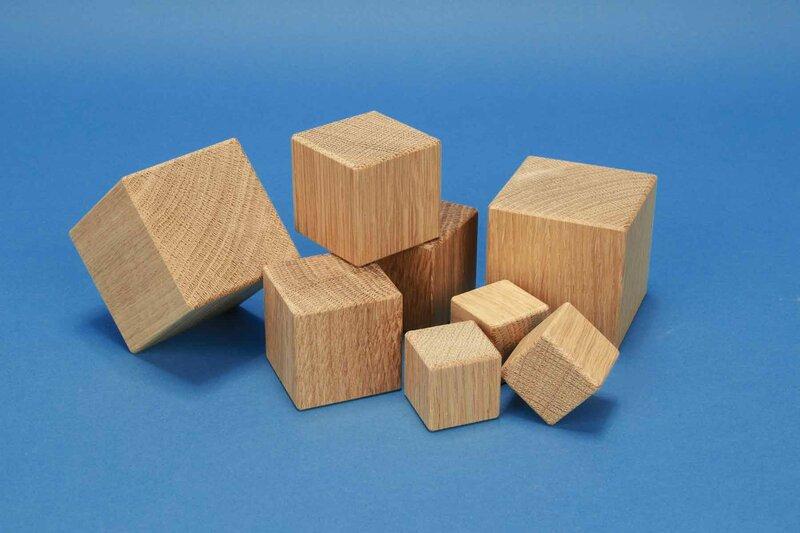 Houten eik kubus-blokken
