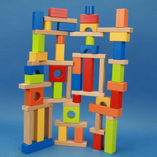 Set of kleurrijke houten bouwblokken