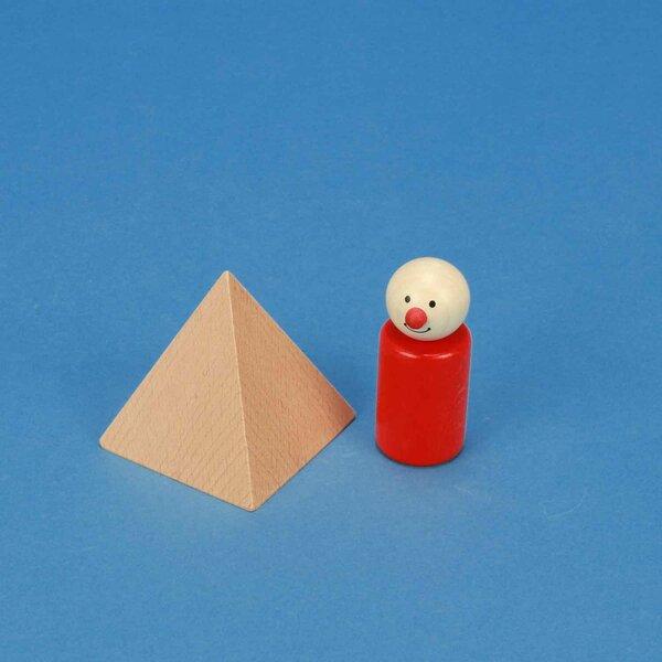 grote pyramid van beukenhout 6 x 6 x 6 cm