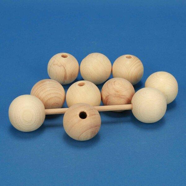 Houten ballen beuk Ø 40mm half geboord 8mm
