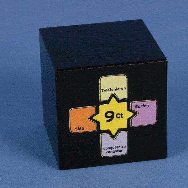 Digitale druk in 4C op houten kubus