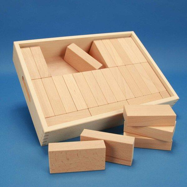 Set houten blokken « Fröbel-Special 29 » in een beukenhout box