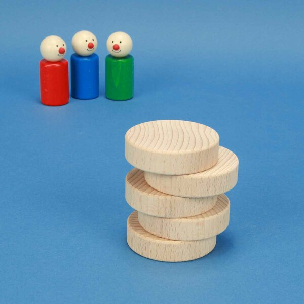 houten blokken rond Ø 6 x 1,5 cm